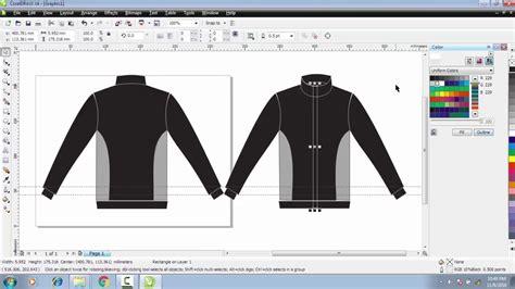 tutorial desain baju corel draw cara membuat desain baju jaket kereeen depan belakang di