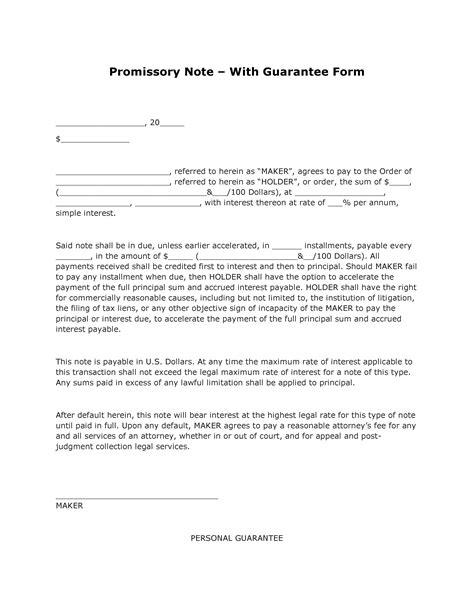 simple promissory note form bamboodownunder com
