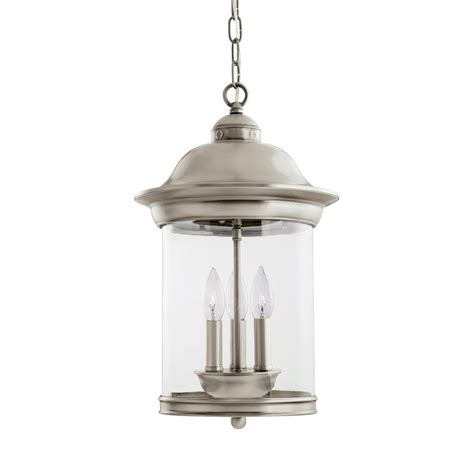 brushed nickel outdoor pendant light sea gull lighting hermitage 3 light antique brushed nickel