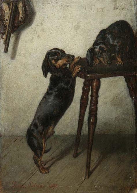 schemel vintage julius josef pollak paar dachshunde auf einem schemel 1898