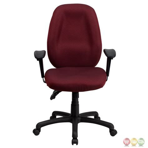 High Back Burgundy Fabric Executive Swivel Office Chair W Swivel Chairs With Arms