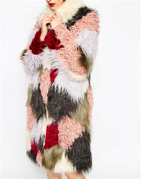 Patchwork Fur - asos swing coat in patchwork faux fur fashion