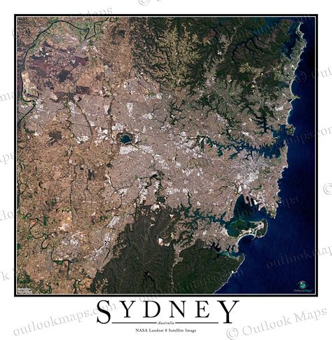 satellite view map sydney australia satellite map print aerial image poster