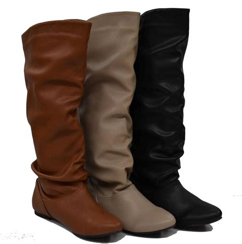womens slouch boots womens knee high slouch boots flats lining slip on