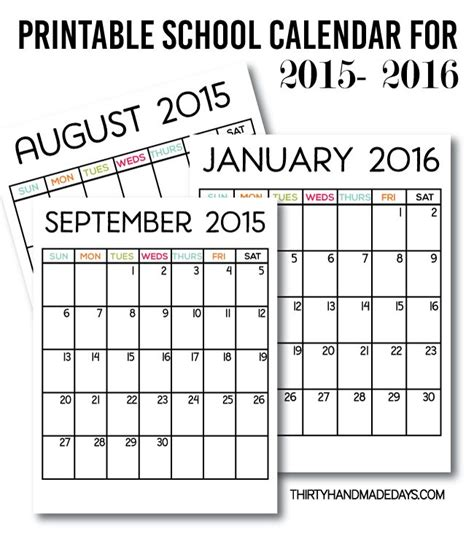 2015 And 2016 Calendar Printable Printable School Calendar For 2015 2016 Our Free