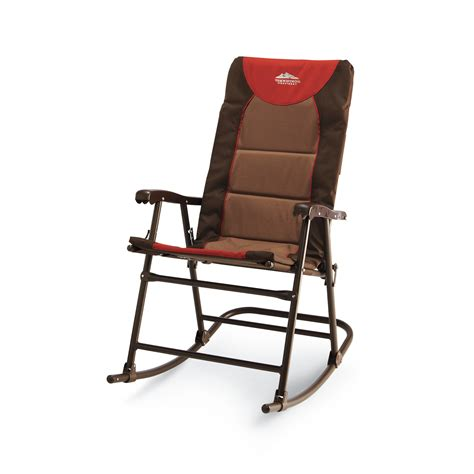 rocking chair folding outdoor camping patio comfortable sturdy brown picnic seat ebay