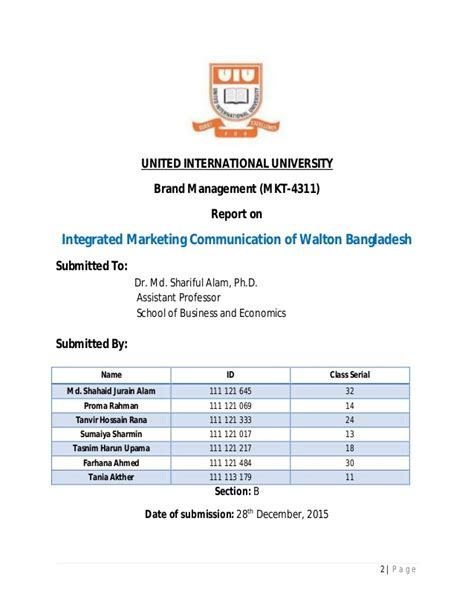 Walton College Of Business Executive Mba by Imc Tools Of Walton Bangladesh