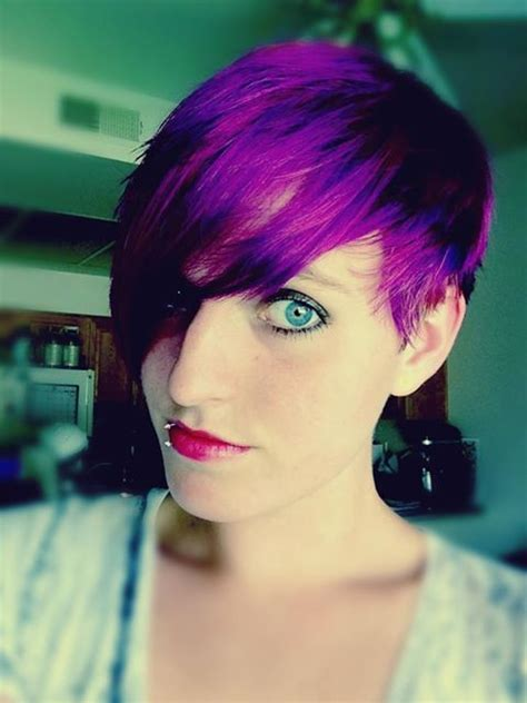 short wheat colored hair pixie cut pixie cut with splat lusty lavender dye purple hair