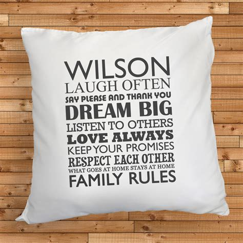 Pillow Storage personalised family rules cushion treat republic