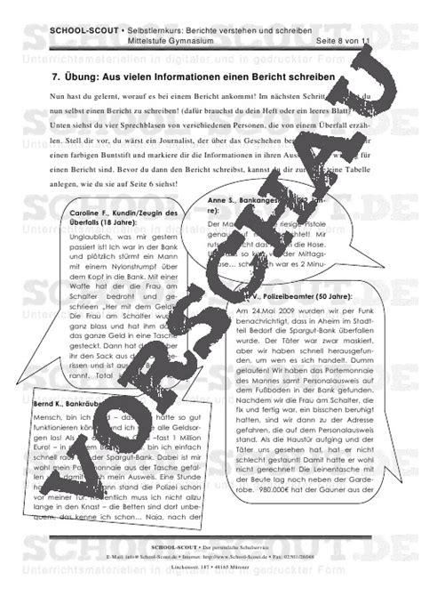 verstehen und schreiben bericht unterrichtsmaterial und arbeitsbl 228 tter school scout