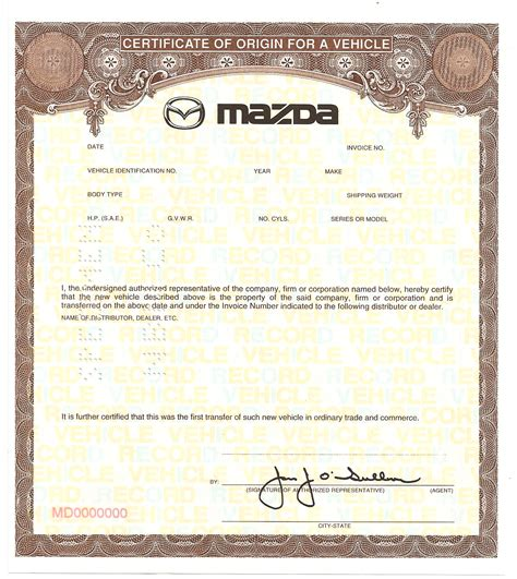 certificate of origin for a vehicle template pacificbancnote mco certificates