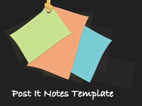 Editable Post It Note Template Post It Notes Template For Powerpoint Presentations