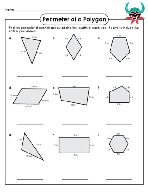 printable shapes to measure perimeter perimeter of polygons worksheet 4th grade math perimeter