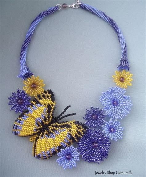 beadwork blue flowers necklace baterfly seed bead necklace beadwork