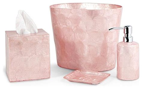 Pink Bathroom Accessories Sets Pink Capiz Bathroom Accessories Contemporary Bathroom Accessories