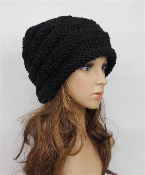 Flat Teplek Polos Black Panda slouchy handmade knitting hat black clothing cap on