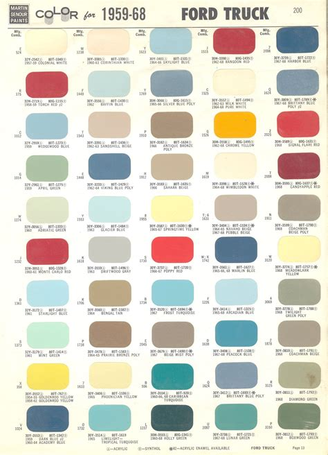 ford colors 1968 ford color chart color chart for 1959 1968 ford