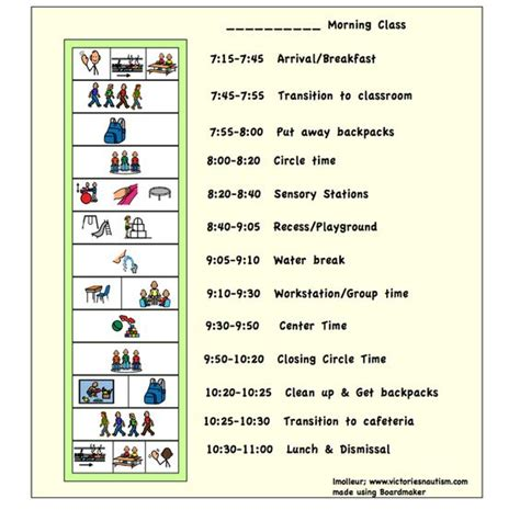 visual schedule template free daily schedule template for with autism www imgkid