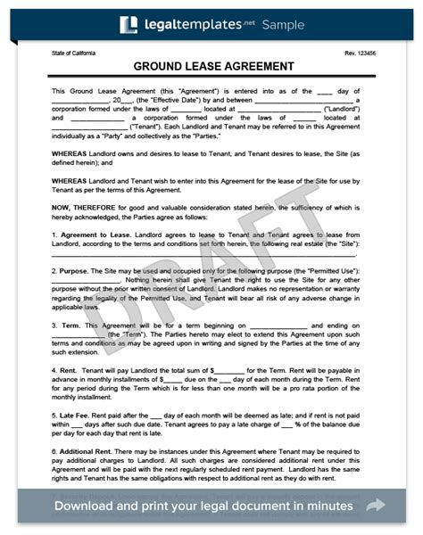 Ground Rent Letter Ground Lease Agreement Print Templates