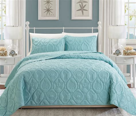 blue coverlet queen seashell spa blue reversible bedspread quilt set queen ebay