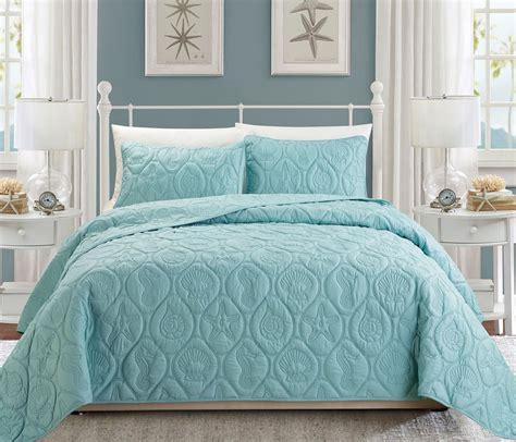 blue bed spread seashell spa blue reversible bedspread quilt set queen ebay
