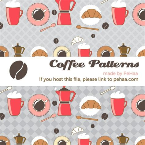 pattern coffee vector coffee and croissants vector pattern vector free download