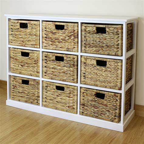 White Bathroom Storage Baskets by White 9 Drawer Basket Storage Side Unit Lounge Bathroom
