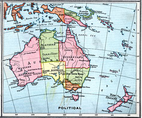 map of and surrounding areas political map of australia and surrounding area
