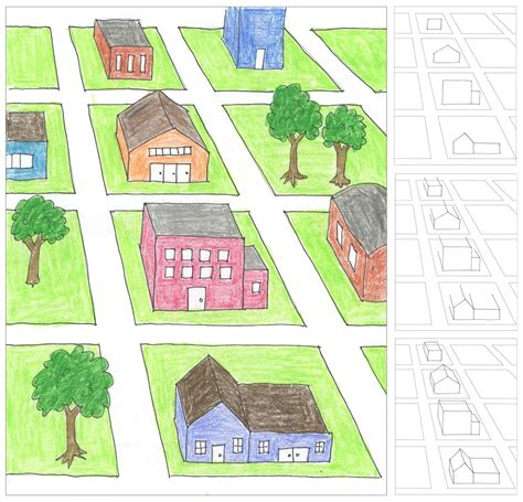 draw house map city block one point perspective drawing projects