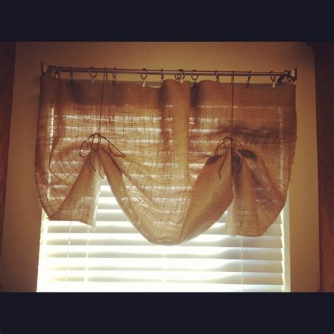 Burlap Kitchen Curtains No Sew Burlap Kitchen Curtain So Easy My Creations