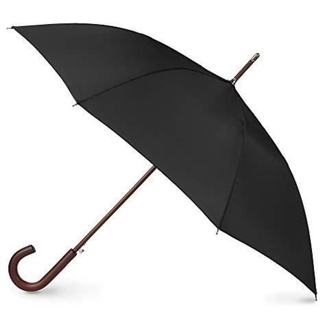 black umbrella totes auto open wooden stick umbrella black one size