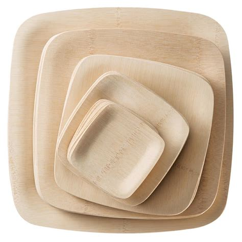 bamboo plates bambu 063200 9 quot disposable square bamboo plate 25 pack