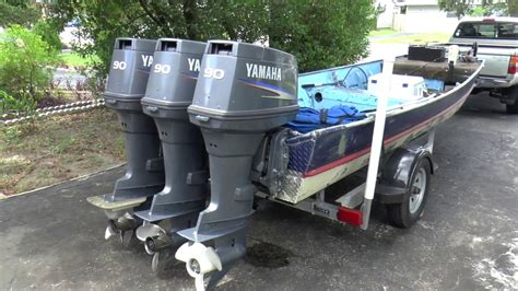 yamaha jon boat motors triple yamaha 90hp outboards on my jon boat youtube