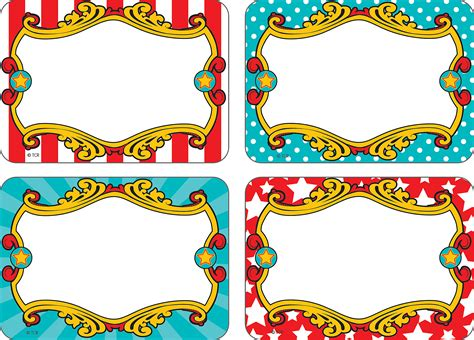carnival themed names carnival name tags labels multi pack carnival field