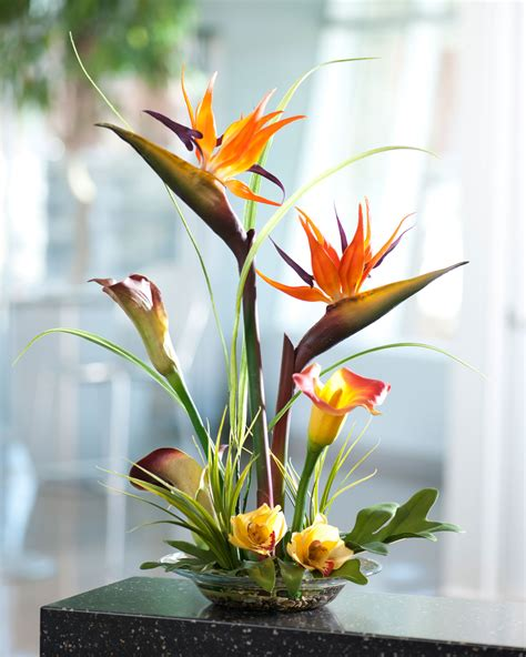 tropical bird of paradise calla lily silk flower