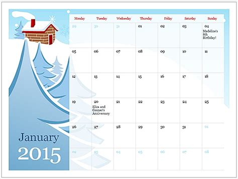Go To 2015 Illustrated Seasonal Calendar Template For 2015 Calendar Office Template