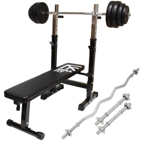 Weight Lifting Starter Kit Bench Bars 100kg Weights Mirafit