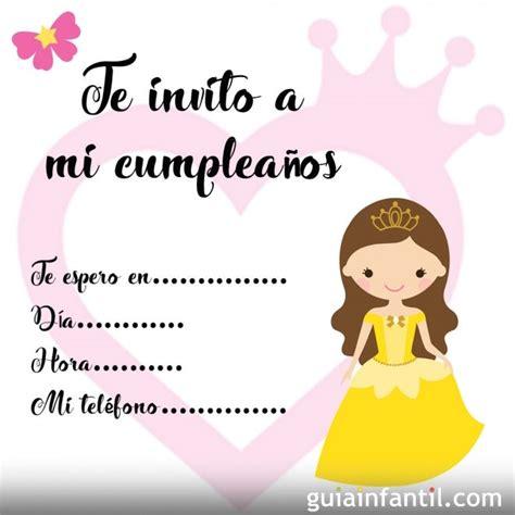 imagenes de invitaciones de cumpleaños bonitas invitaci 243 n de cumplea 241 os con dibujos de princesas