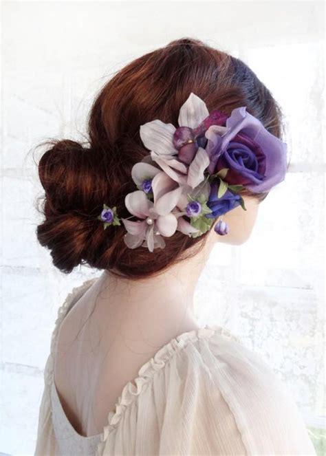 Wedding Hair Accessories Purple by Purple Wedding Flower Hair Accessories Bridal Headpiece
