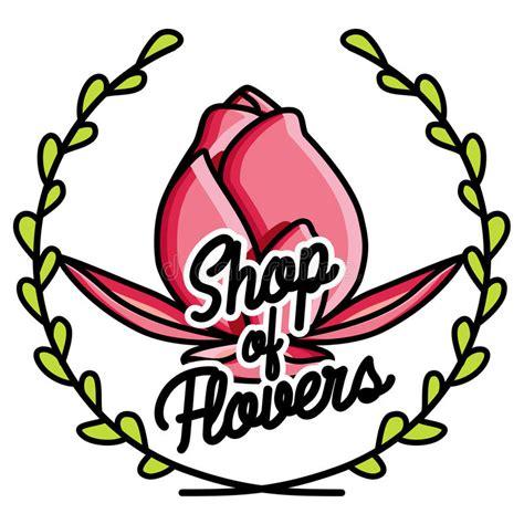 design elements flower shop color vintage flower shop emblem stock vector