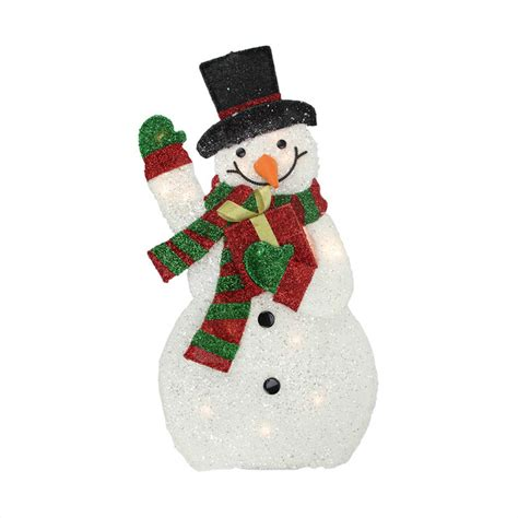Lighted Outdoor Snowman Lighted Plush Waving Snowman With Gift Yard Decoration 32