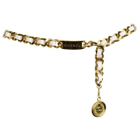 chanel white leather gold tone quot cc quot logo medallion chain