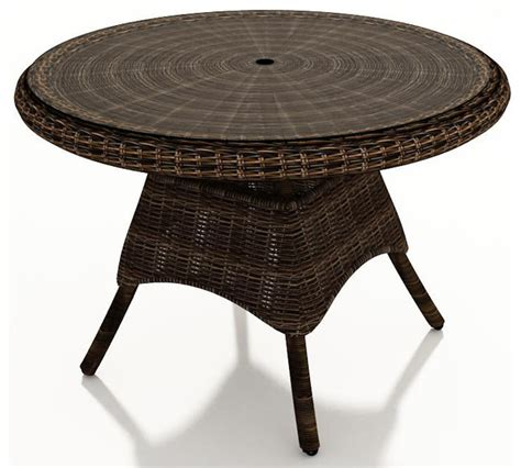 leona 42 in wicker dining table mocha wicker