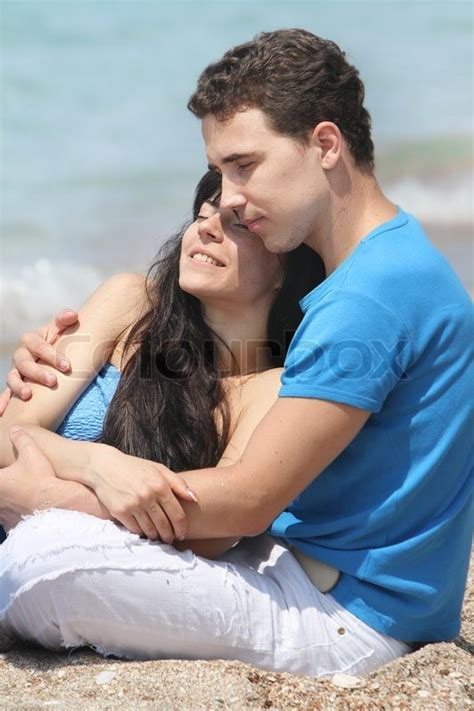couple pic young loving couple on natural background stock photo