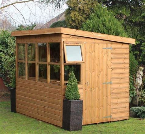 traditional sun pent  gable shed  shed