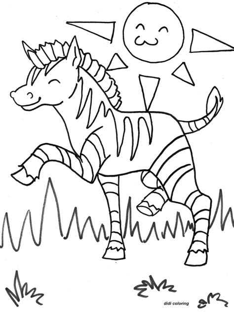 coloring pages sunny weather printable exited zebra horse grazing in sunny weather