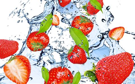 fruit water strawberry fruit water splash wallpaper other