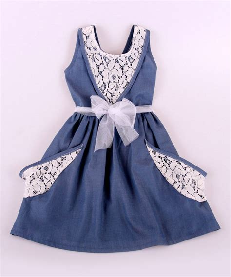 27767 X Line Dress loving this baby white denim lace a line dress toddler on zulily