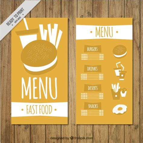 create a menu template free burger menu template vector free