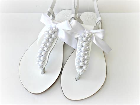 White Wedding Sandals wedding leather sandals white sandals decorated with white